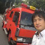 福山市鞆支所に消防車と救急車がやってくる!~きみも消防士になろう!子ども防火衣を着て消防車と記念撮影・水消火器体験