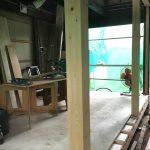 福山市鞆町の空き家再生プロジェクト第3弾!~vol.10床の造作工事、柱の立ち上げ