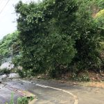 福山市鞆・田尻線(県道22号線)が土砂崩れで片側交互通行~西日本豪雨の記録。ガス発電機が活躍