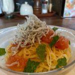 【パスタ】福山市鞆町の「鞆町カフェー454」~しらすと生トマトの冷製パスタ